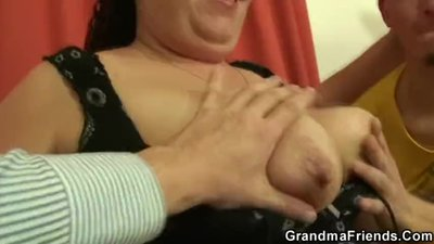 POV thresome with big boobs woman