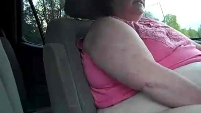 Old SSBBW Has Orgasm in Car in Parking..
