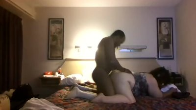 Big mature wife having a BBC on bed
