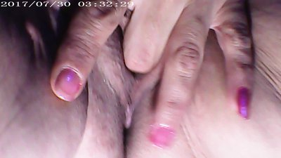 Solo female plays with her Creamy Big..