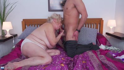 Grandmas hairy pussy gets a young guest
