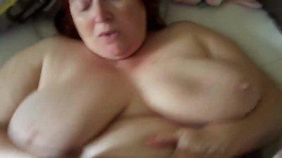 Bbw in lingerie jerking cock pov