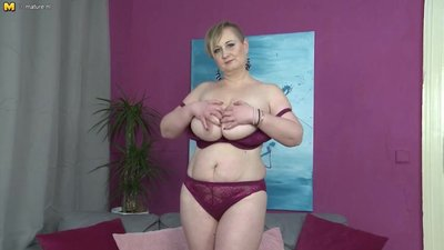 Big breasted housewife plays with her..